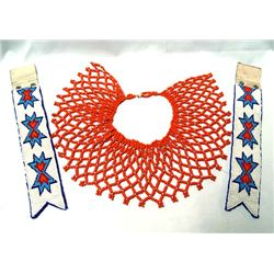 Plains Indian Beaded Cuffs and Bib Necklace