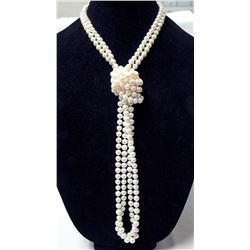 Opera Length Hand Tied Pearl Necklace