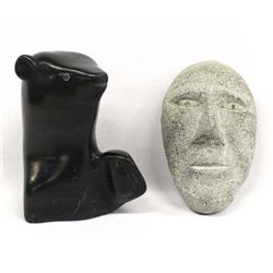 2 Canadian Inuit Carved Stone Bear & Maskette