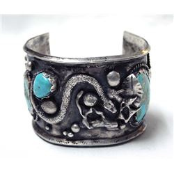 Navajo Old Pawn Sterling Turquoise Cuff Bracelet