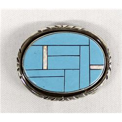 Sterling Silver Turquoise and Opal Belt Buckle