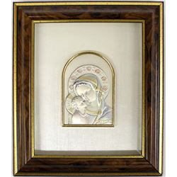 Italian Sterling Silver Madonna Plaque Art