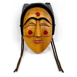 Korean Hand Painted Carved Wood Mask
