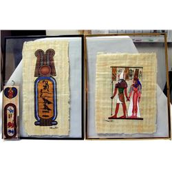 3 Egyptian Papyrus Artwork Items