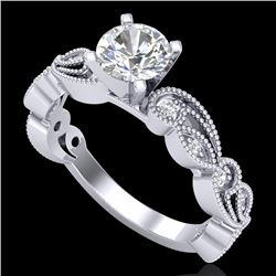 1.01 CTW VS/SI Diamond Solitaire Art Deco Ring 18K White Gold - REF-218X2T - 37316