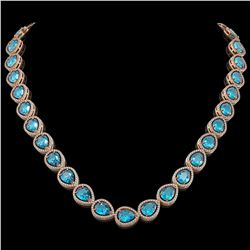 43.2 CTW Swiss Topaz & Diamond Halo Necklace 10K Rose Gold - REF-609Y8K - 41220