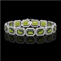 36.51 CTW Tourmaline & Diamond Halo Bracelet 10K White Gold - REF-477A3X - 41543