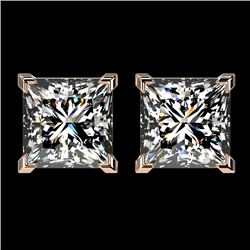 2.50 CTW Certified VS/SI Quality Princess Diamond Stud Earrings 10K Rose Gold - REF-840A2X - 33115