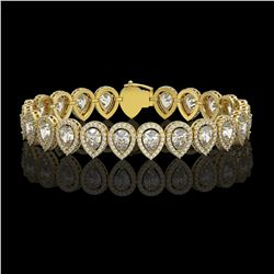 15.85 CTW Pear Diamond Designer Bracelet 18K Yellow Gold - REF-2890A8X - 42772