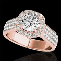 1.8 CTW H-SI/I Certified Diamond Solitaire Halo Ring 10K Rose Gold - REF-258X2T - 34061