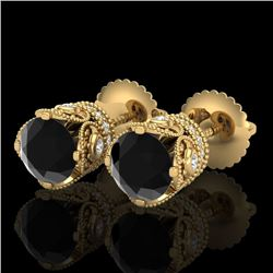 1.85 CTW Fancy Black Diamond Solitaire Art Deco Stud Earrings 18K Yellow Gold - REF-109Y3K - 37410
