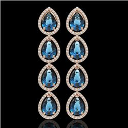 11.2 CTW London Topaz & Diamond Halo Earrings 10K Rose Gold - REF-159T5M - 41319