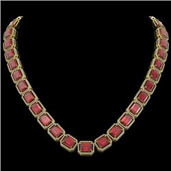 80.32 CTW Tourmaline & Diamond Halo Necklace 10K Yellow Gold - REF-1178N4Y - 41494
