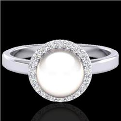 0.25 CTW Micro Pave Halo VS/SI Diamond & White Pearl Ring 18K White Gold - REF-53N6Y - 21646