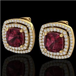 4.55 CTW Garnet & Micro Pave VS/SI Diamond Halo Earrings 18K Yellow Gold - REF-104M9H - 20166