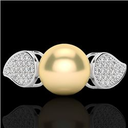 0.27 CTW Micro Pave VS/SI Diamond & Golden Pearl Designer Ring 18K White Gold - REF-45M3H - 22639