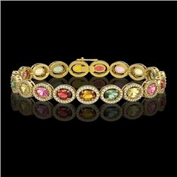 14.25 CTW Multi Color Sapphire & Diamond Halo Bracelet 10K Yellow Gold - REF-304A5X - 40501