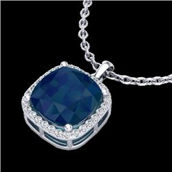 6 CTW Sapphire & Micro Pave Halo VS/SI Diamond Necklace 18K White Gold - REF-85N5Y - 23086
