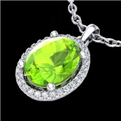 2.50 CTW Peridot & Micro Pave VS/SI Diamond Necklace Halo 18K White Gold - REF-51F3N - 21085