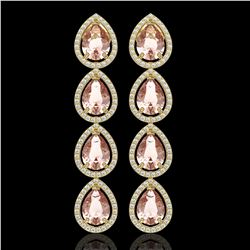 10.4 CTW Morganite & Diamond Halo Earrings 10K Yellow Gold - REF-259M3H - 41296