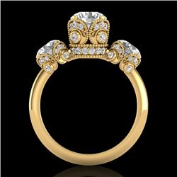 3 CTW VS/SI Diamond Solitaire Art Deco 3 Stone Ring 18K Yellow Gold - REF-649M3H - 36868