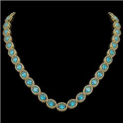 55.41 CTW Swiss Topaz & Diamond Halo Necklace 10K Yellow Gold - REF-681F8N - 40588