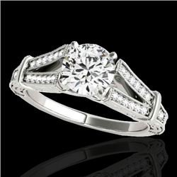 1.25 CTW H-SI/I Certified Diamond Solitaire Antique Ring 10K White Gold - REF-214T5M - 34657