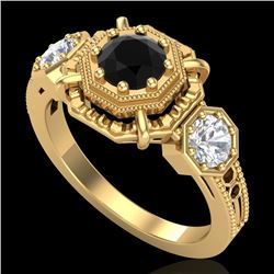 1.01 CTW Fancy Black Diamond Solitaire Art Deco 3 Stone Ring 18K Yellow Gold - REF-96A4X - 37466