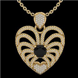3.50 CTW Black & White Micro VS/SI Diamond Heart Necklace 14K Yellow Gold - REF-173W6F - 20500