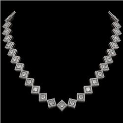 26.88 CTW Princess Cut Diamond Designer Necklace 18K White Gold - REF-4912W2F - 42794