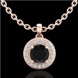 1 CTW Fancy Black Diamond Solitaire Art Deco Stud Necklace 18K Rose Gold - REF-98N2Y - 37661