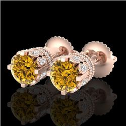 3 CTW Intense Fancy Yellow Diamond Art Deco Stud Earrings 18K Rose Gold - REF-349Y3K - 37365
