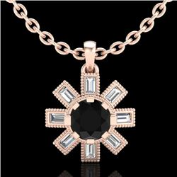 1.33 CTW Fancy Black Diamond Solitaire Art Deco Stud Necklace 18K Rose Gold - REF-136X4T - 37871