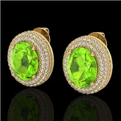 9 CTW Peridot & Micro Pave VS/SI Diamond Earrings 18K Yellow Gold - REF-186T8M - 20231