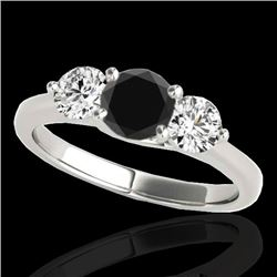 3 CTW Certified VS Black Diamond 3 Stone Solitaire Ring 10K White Gold - REF-180N2Y - 35397