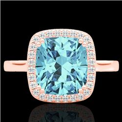 3.50 CTW Sky Blue Topaz & Micro VS/SI Diamond Halo Solitaire Ring 14K Rose Gold - REF-40Y5K - 22853