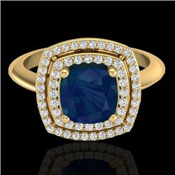 2.52 CTW Sapphire & Micro VS/SI Diamond Pave Halo Ring 18K Yellow Gold - REF-77A3X - 20769
