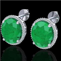 25 CTW Emerald & Micro Pave VS/SI Diamond Halo Earrings 18K White Gold - REF-254W5F - 20270