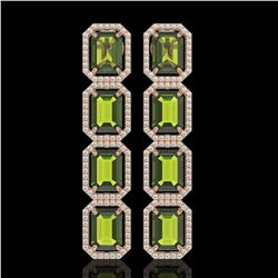 19.44 CTW Tourmaline & Diamond Halo Earrings 10K Rose Gold - REF-258W9F - 41592