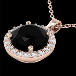 2 CTW Halo VS/SI Diamond Micro Pave Necklace Solitaire 14K Rose Gold - REF-67H3A - 21551