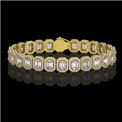 17.28 CTW Emerald Cut Diamond Designer Bracelet 18K Yellow Gold - REF-3582X4T - 42790
