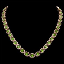 48.14 CTW Peridot & Diamond Halo Necklace 10K Rose Gold - REF-756T5M - 40581