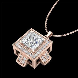 1.46 CTW Princess VS/SI Diamond Micro Pave Necklace 18K Rose Gold - REF-418H2A - 37194