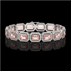37.11 CTW Morganite & Diamond Halo Bracelet 10K White Gold - REF-787T3M - 41534