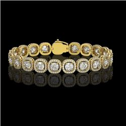 14.41 CTW Cushion Diamond Designer Bracelet 18K Yellow Gold - REF-2635F6N - 42628
