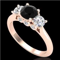 1.5 CTW Fancy Black Diamond Solitaire Art Deco 3 Stone Ring 18K Rose Gold - REF-136H4A - 38263