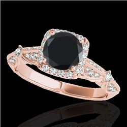1.36 CTW Certified VS Black Diamond Solitaire Halo Ring 10K Rose Gold - REF-68X9T - 33755