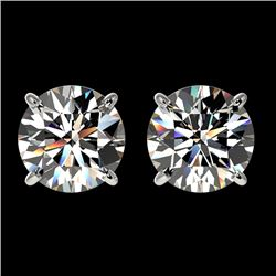 2.09 CTW Certified H-SI/I Quality Diamond Solitaire Stud Earrings 10K White Gold - REF-285X2T - 3664