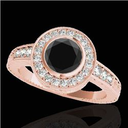 1.50 CTW Certified VS Black Diamond Solitaire Halo Ring 10K Rose Gold - REF-72A8X - 33895