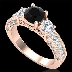 2.07 CTW Fancy Black Diamond Solitaire Art Deco 3 Stone Ring 18K Rose Gold - REF-200A2X - 37780
